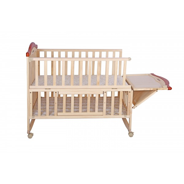 Just Born® Rocking Wooden Crib - 0 to 3 Years - With Storage - Cozy Cot