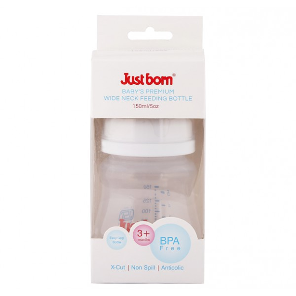 Just Born® Premium Wide Neck Feeding Bottle 5Oz / 150ML